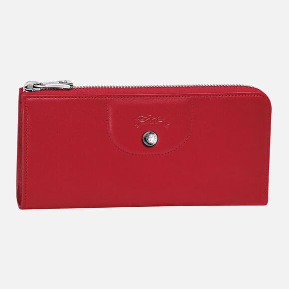 Billetera Longchamp Zip around Cherry Le Pliage Cuir 3418737045