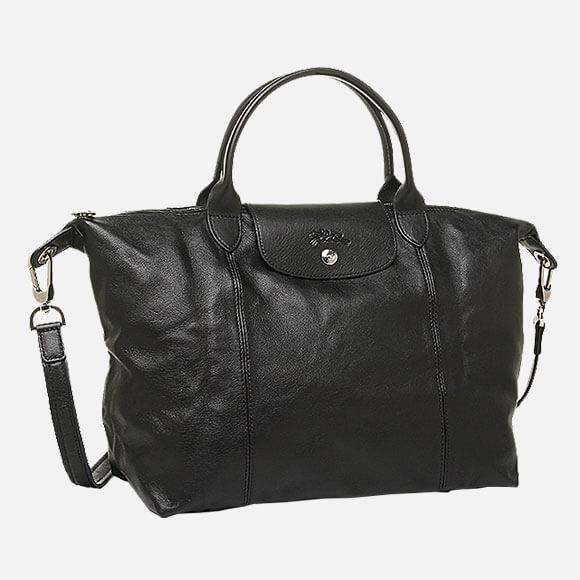 Bolso De Mano *M Black Le Pliage Cuir Longchamp
