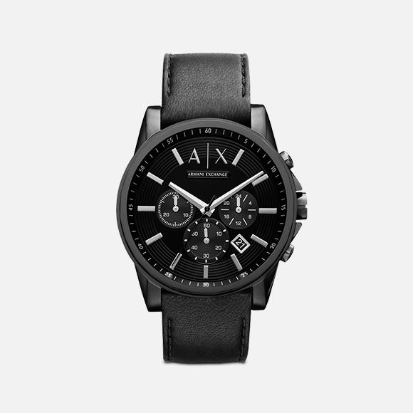 Reloj con correa de cuero AX2098
