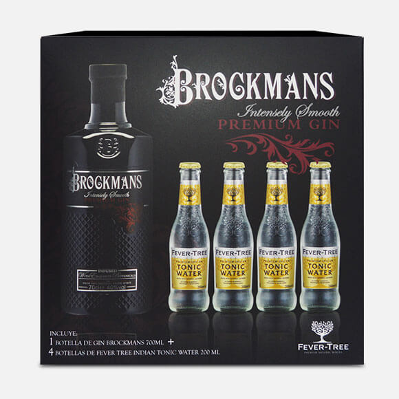 Estuche de Gin Brockmans + 04 Fever Tree Indian Tonic