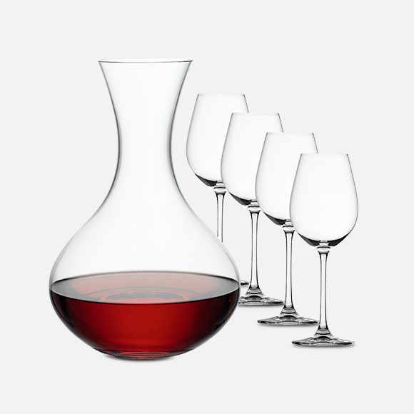 Decantador + 4 vasos de cristal vino tinto set X 5 Salute