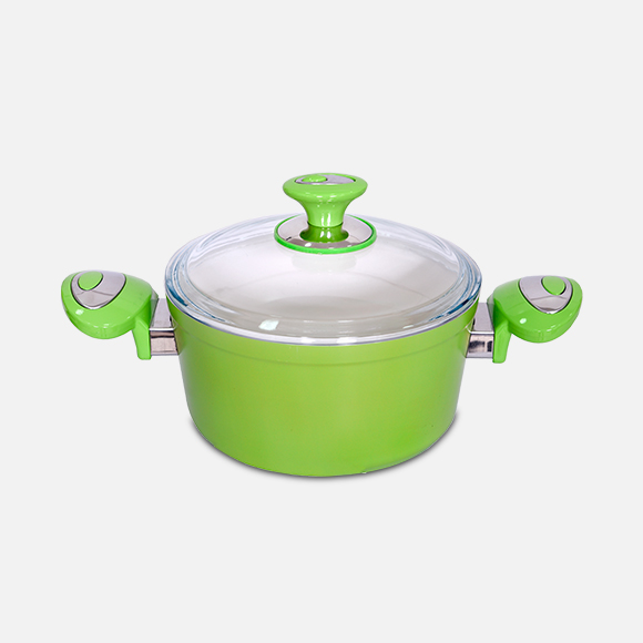 Olla de cerámica con tapa vidrio 18x09cm - verde