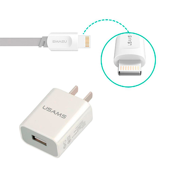 iPhone 5/6/7 USB Pared con Cable Data Blanco