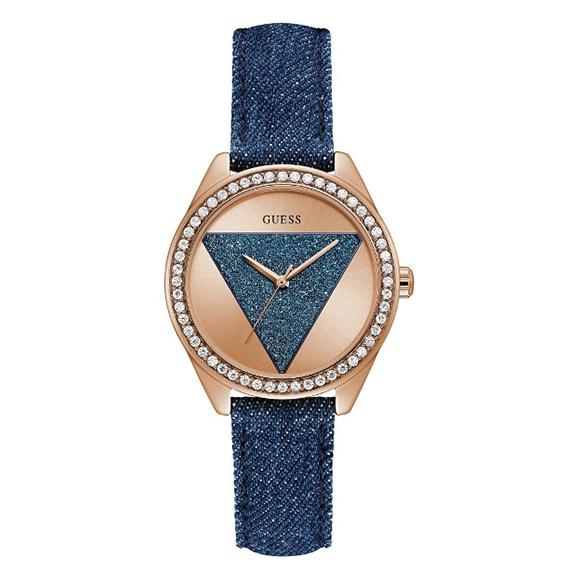 Reloj de dama Guess W0884L7 con correa de cuero forrado en jean