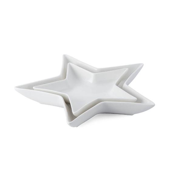 Platos de porcelana en la forma de estrella 2 piezas